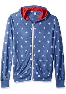 Alternative Apparel Alternative Men's ECO Zip Hoodie Colorblock pacifc Blue Stars
