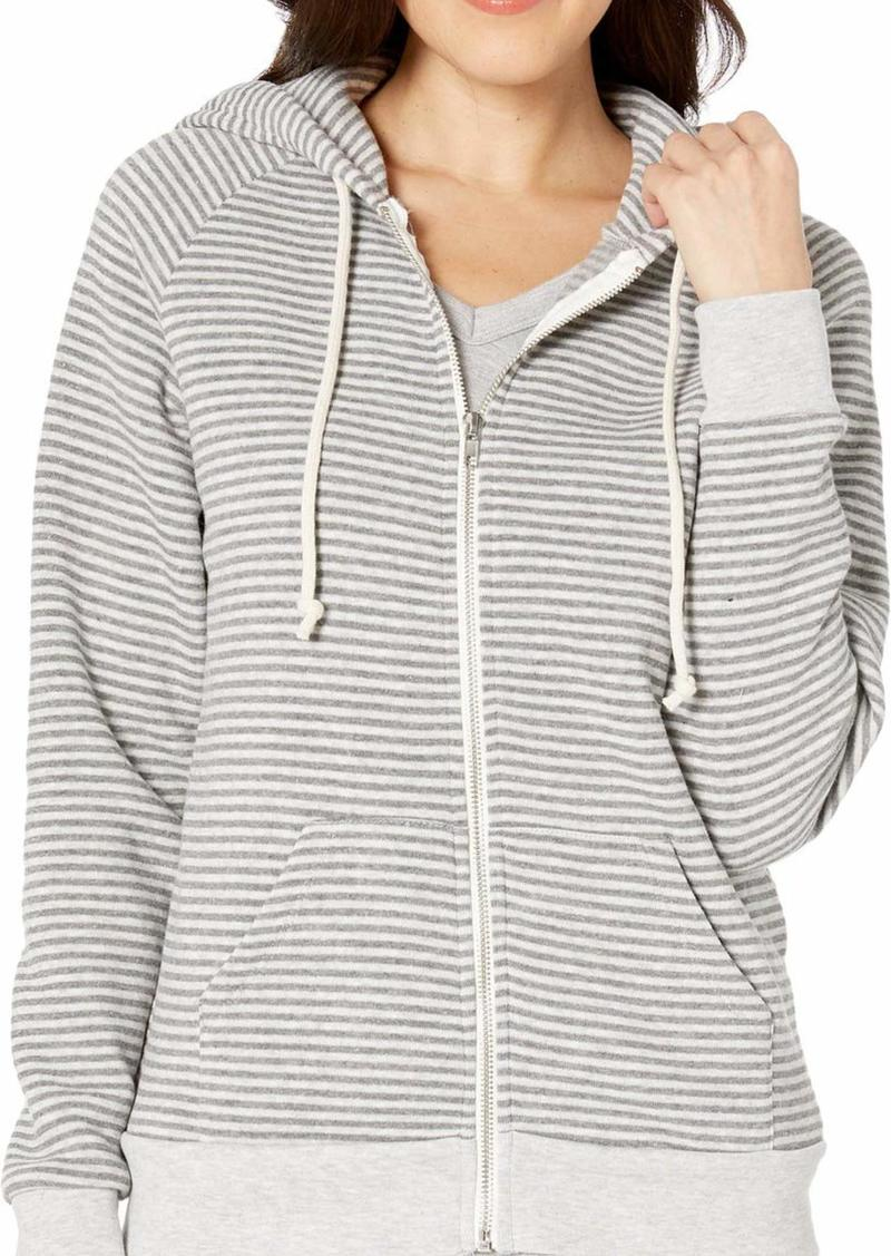 Alternative Apparel Alternative Women's Adrian Striped eco-Fleece Zip Hoodie Grey Classic
