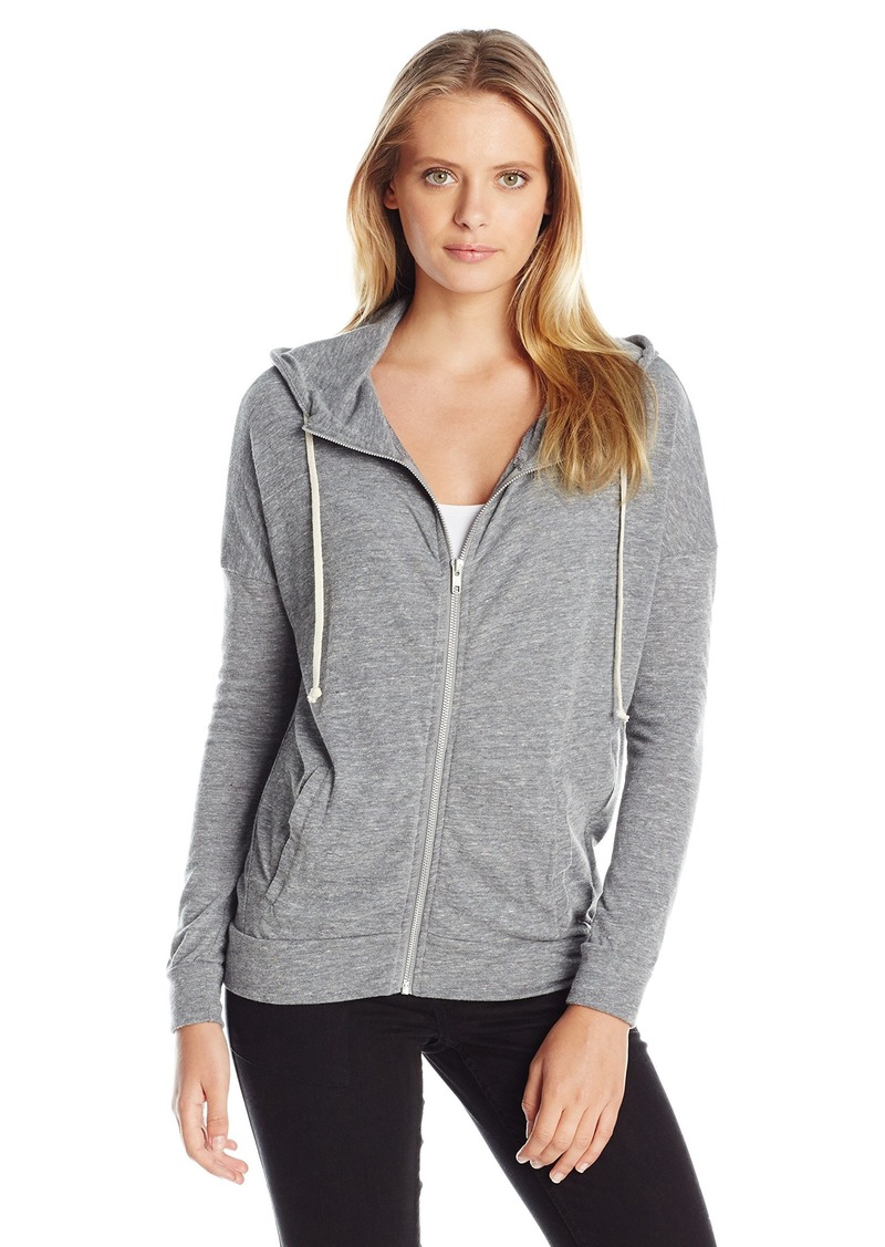 Alternative Apparel Alternative Women's Eco Jersey Cool Down Zip Hoodie Sweatshirt Grey