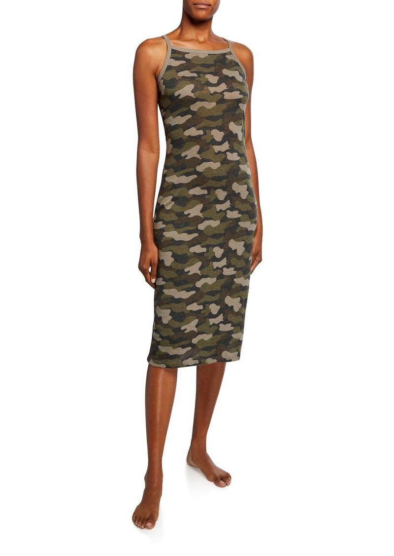 Alternative Apparel Camo Square-Neck Midi Tank Dress