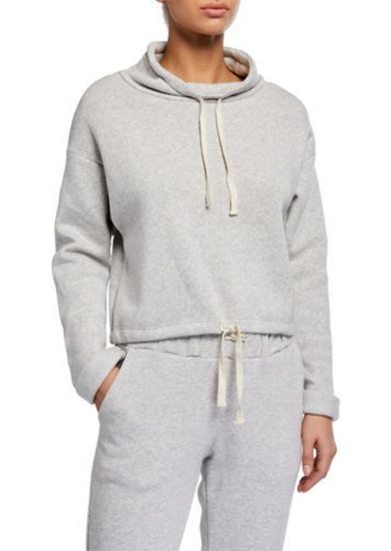 Cropped Funnel-Neck Drawstring-Hem Sweatshirt