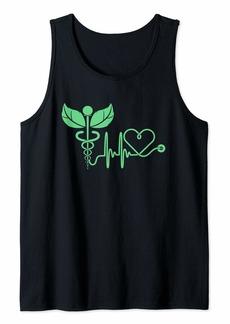Alternative Apparel Green Leaf Caduceus For Holistic Naturopath Doctor or Nurse Tank Top