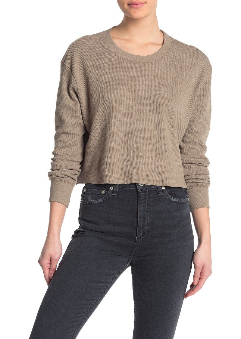 Alternative Apparel Thermal Cropped Long Sleeve T-Shirt