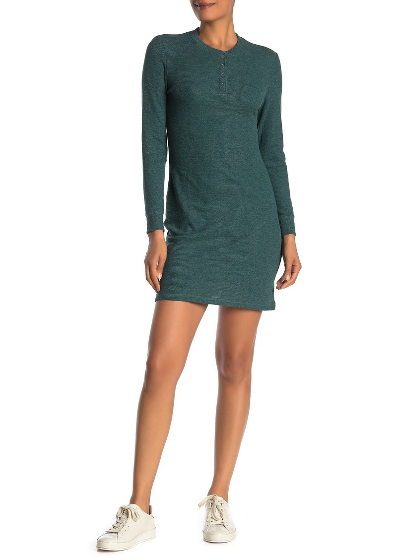 Alternative Apparel Thermal Long Sleeve Henley Dress