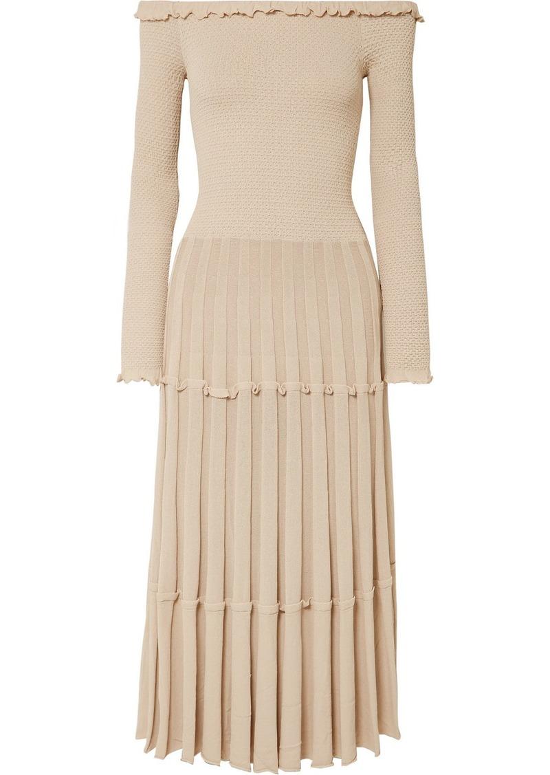 Altuzarra Alisha Off-the-shoulder Pleated Knitted Midi Dress