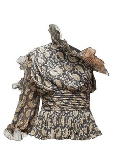 Altuzarra Aditi plissé-trimmed paisley-print silk top