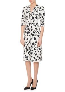 Altuzarra Aimee Abstract-Floral 3/4-Sleeve Dress