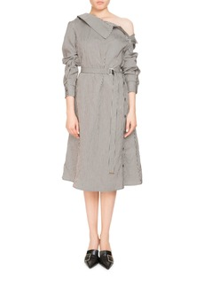 Altuzarra Albany Long-Sleeve Belted Pinstripe Midi Dress