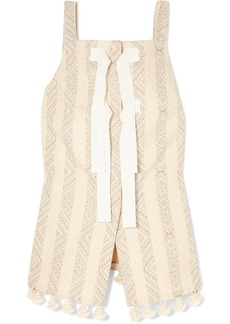 Altuzarra Archie grosgrain-trimmed tasseled cotton-blend jacquard top