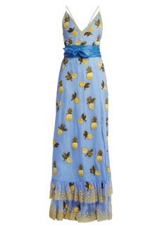 Altuzarra Artesia pineapple-print silk gown