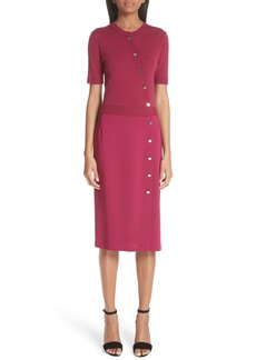 Altuzarra Asymmetrical Button Mixed Media Sheath Dress