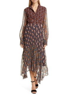 Altuzarra Asymmetrical Paisley Print Long Sleeve Midi Dress