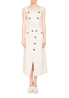 Altuzarra Audrey Pinstripe Apron-Front Belted Midi Dress w/ Button Trim
