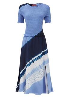 Altuzarra Ayumi shirred shibori-dyed silk midi dress