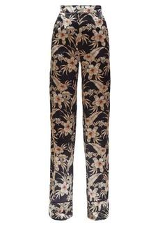 Altuzarra Bani hawaiian-print charmeuse trousers