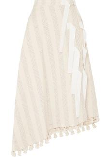 Basilica grosgrain-trimmed tasseled cotton-blend jacquard skirt