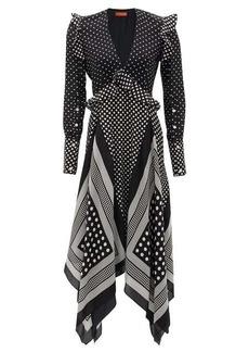 Altuzarra Bayview handkerchief-hem polka-dot silk midi dress