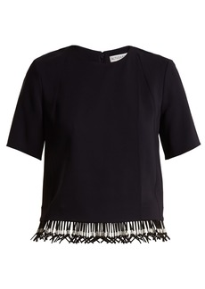 Altuzarra Beaded-hem crepe top