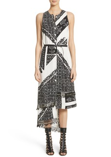 Altuzarra Belted Asymmetrical Fringe Hem Silk Dress