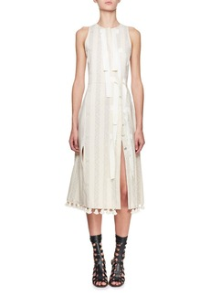 Altuzarra Blanche Sleeveless Jacquard Diagonal-Snap Dress with Pompom & Ribbon Trim