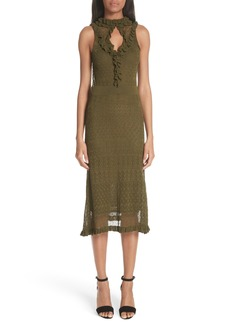 Altuzarra Butterfield Ruffle Pointelle Knit Dress