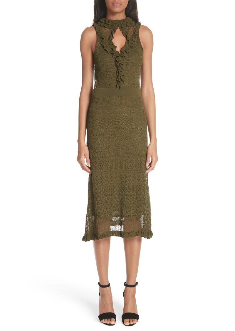 Altuzarra Butterfield Ruffle Pointelle Knit Dress