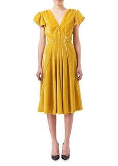 Altuzarra Camilla Cap-Sleeve Velvet Midi Dress