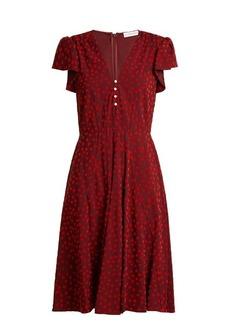 Altuzarra Camilla flocked spot-print cady dress