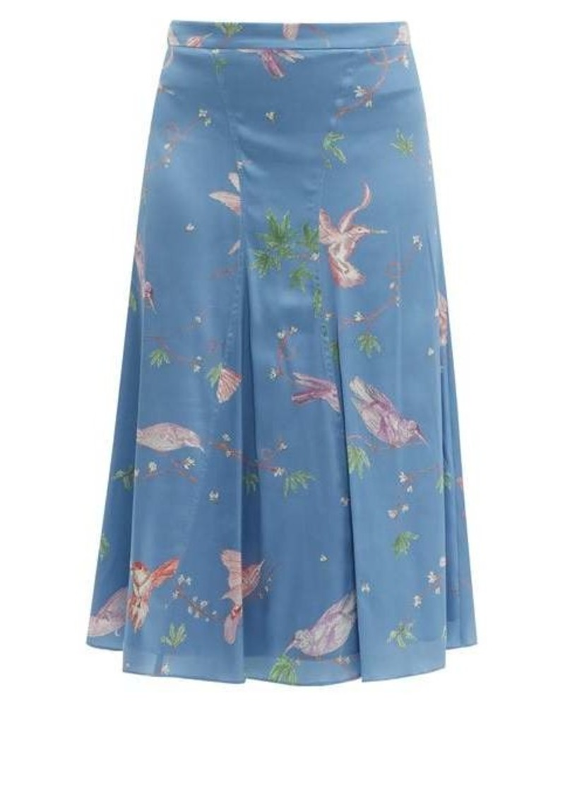 Altuzarra Caroline bird-print silk knee-length skirt