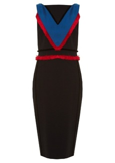 Altuzarra Caulfield fringed-trim cady midi dress
