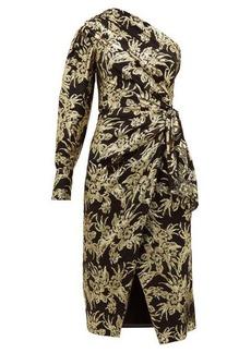 Altuzarra Chanda floral-brocade ruched one-shoulder dress