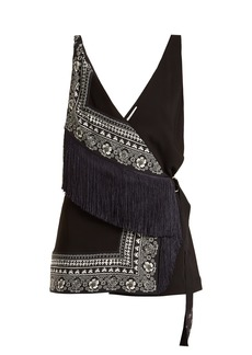 Altuzarra Cheyanne deep V-neck scarf-print stretch-cady top