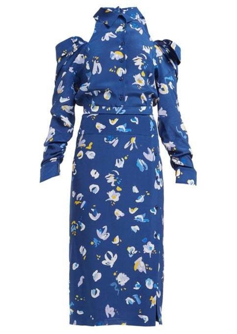Altuzarra Chiara cut-out floral-print silk crepe midi dress