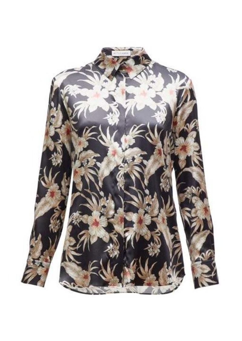 Altuzarra Chika Hawaiian-print silk-blend satin shirt