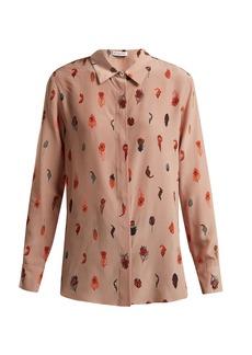 Altuzarra Chika peacock feather-print silk blouse