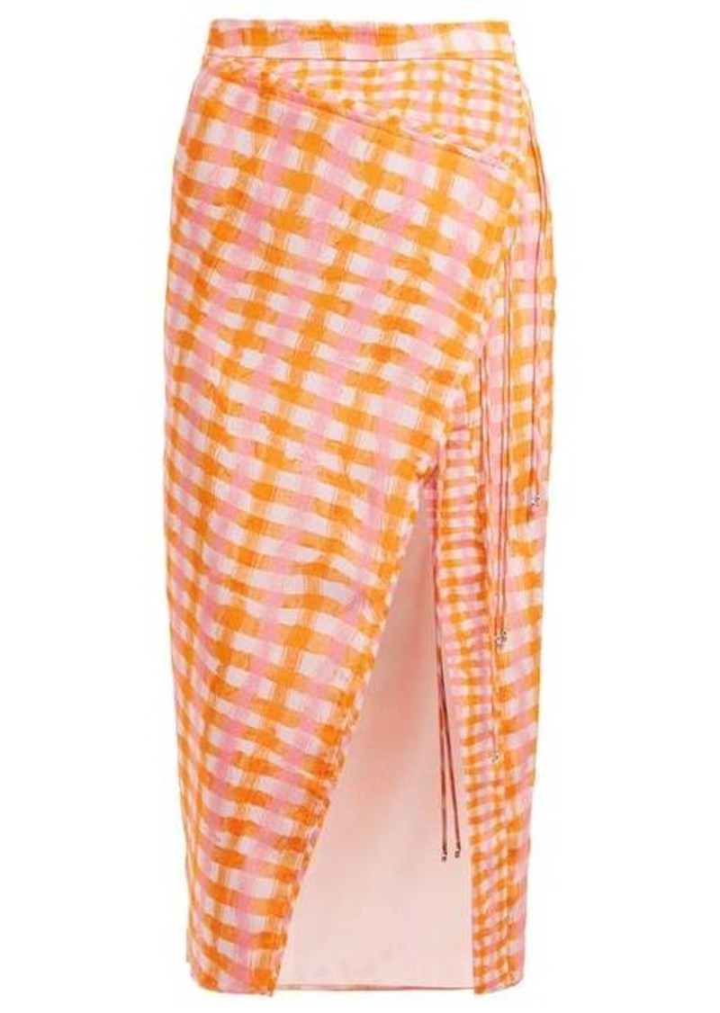 Altuzarra Cicero gingham-print silk midi skirt