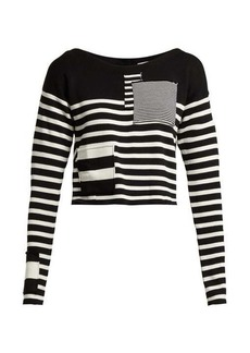 Altuzarra Cousteau patch-detailed striped ribbed-knit top