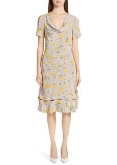 Altuzarra Cowl Neck Floral Print Silk Dress