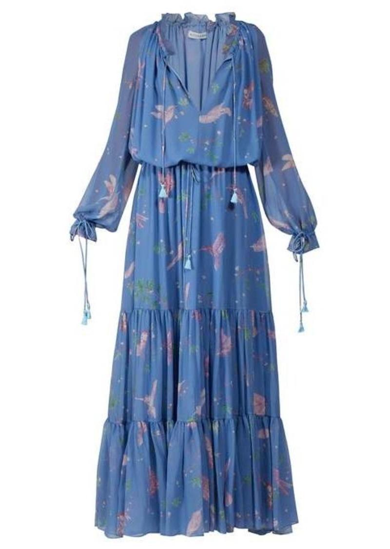 Altuzarra Currie bird-print tiered silk-chiffon gown