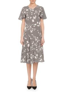 Altuzarra Dorothea Floral Stripe Flutter-Sleeve Dress