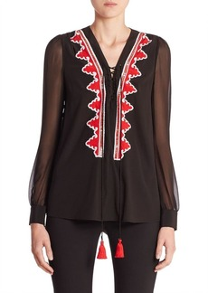 Altuzarra Embroidered Silk-Blend Blouse