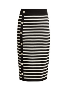 Altuzarra Enya striped ribbed-knit midi skirt