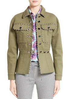 Altuzarra Feday Gabardine Military Jacket with Python Print Piping
