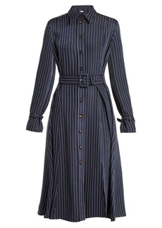 Altuzarra Fiona waist-belt pinstriped twill shirtdress