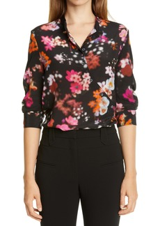 Altuzarra Floral Print Asymmetrical Button Silk Shirt