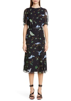 Altuzarra Floral Print Belted Chiffon Midi Dress