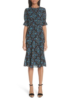 Altuzarra Floral Print Flare Hem Silk Dress