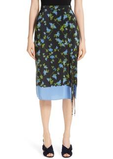 Altuzarra Floral Print Tie Detail Silk Skirt