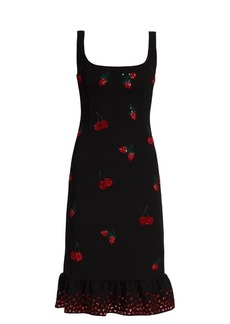 Altuzarra Fria cherry-embellished ruffled-hem dress