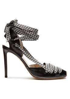 Altuzarra Gingham-tie leather d'Orsay pumps